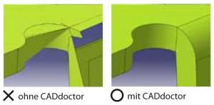 Vergleich: ohne und mit CADdoctor